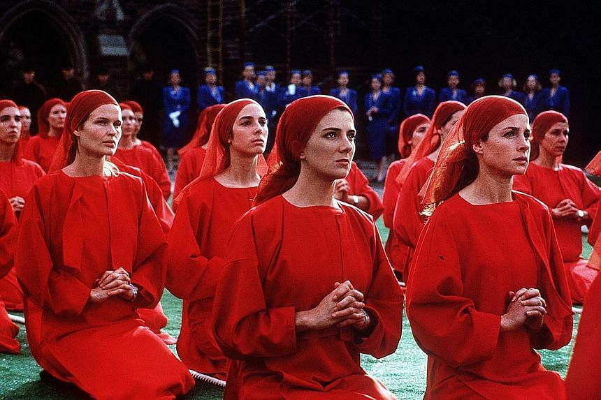 The Handmaid's Tale, which was made into a movie (above) in 1990, takes place in near-future New England as a totalitarian regime takes power and strips women of their civil rights.