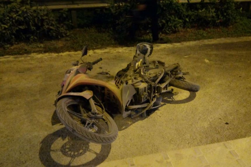 The remains of the burnt-out motorcycle.