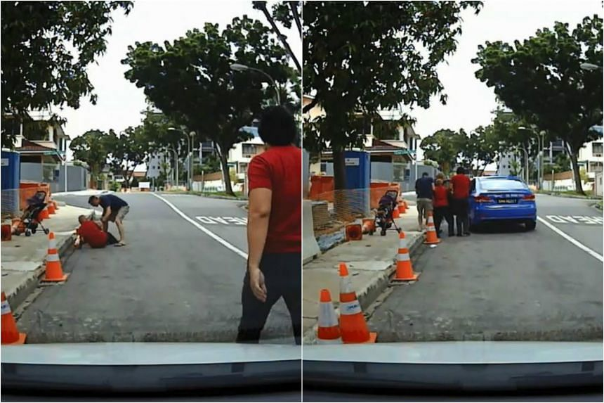 Music teacher Jeremy See and a Caucasian man came to the aid of an elderly man who had a bad fall at Lorong Ong Lye.