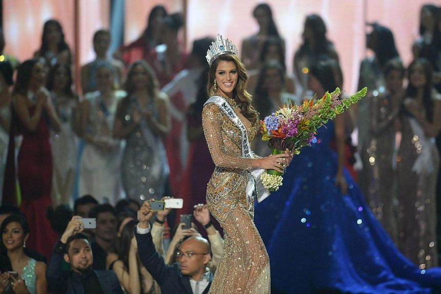 Iris Mittenaere of France walking the stage after being crowned the winner of the 2017 Miss Universe pageant at the Mall of Asia Arena in Manila, on Jan 30, 2017.