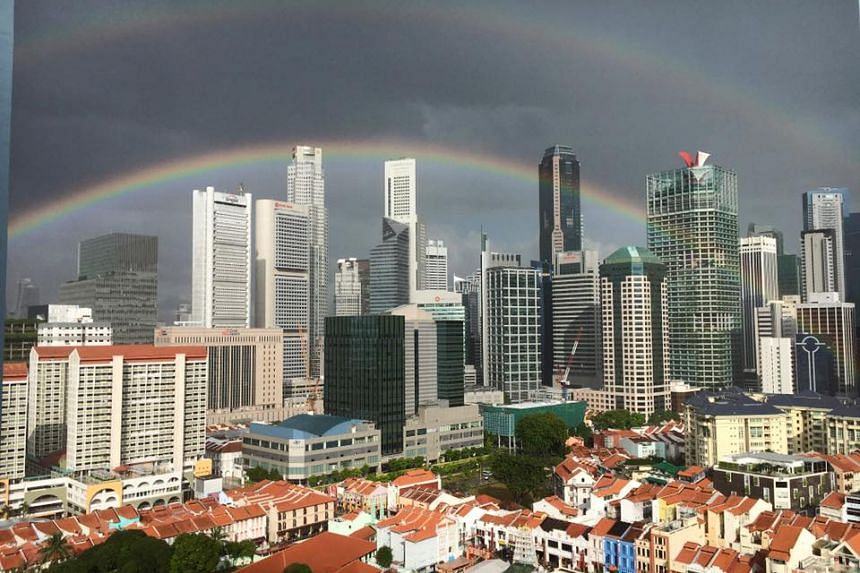 A double rainbow is seen in the sky over central Singapore on Monday (Jan 30).