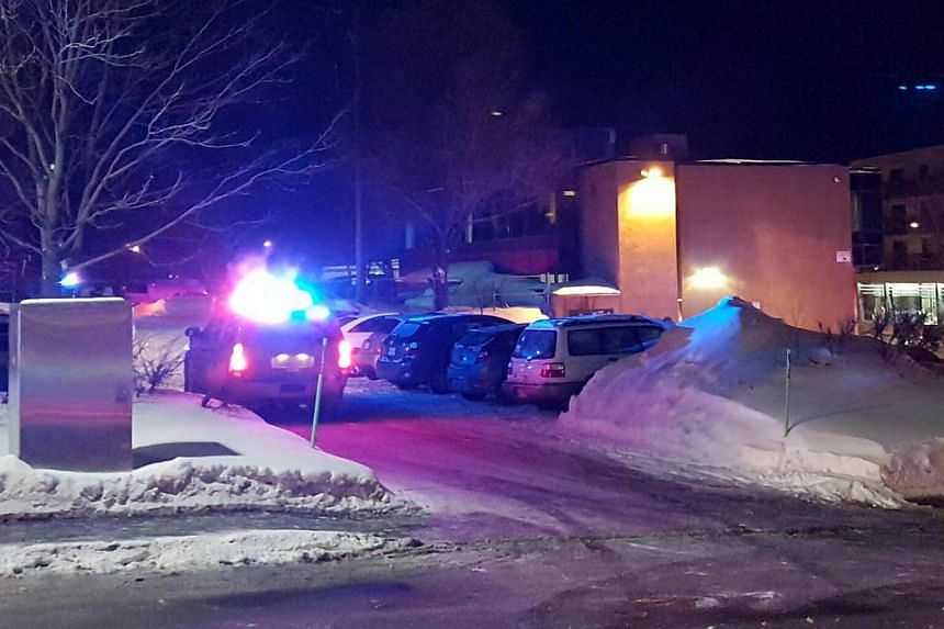Police arriving at the scene of a fatal shooting at the Quebec Islamic Cultural Centre in Quebec City, Canada, on Jan 29, 2017.
