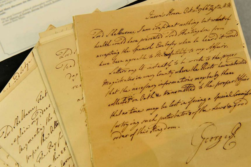 A letter by King George III on peace negotiations with America after the War of Independence.