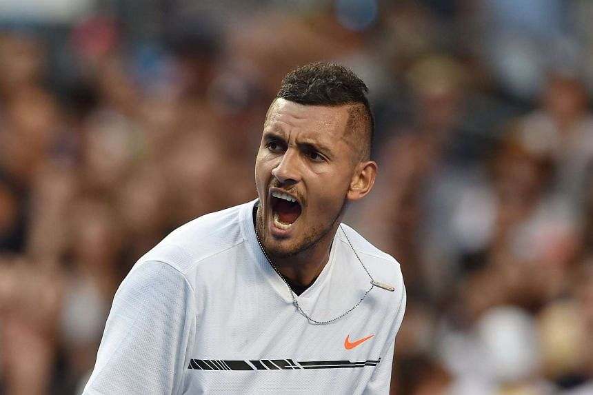 Nick Kyrgios reacting during his match against Gastao Elias during the Australian Open on Jan 16, 2017.
