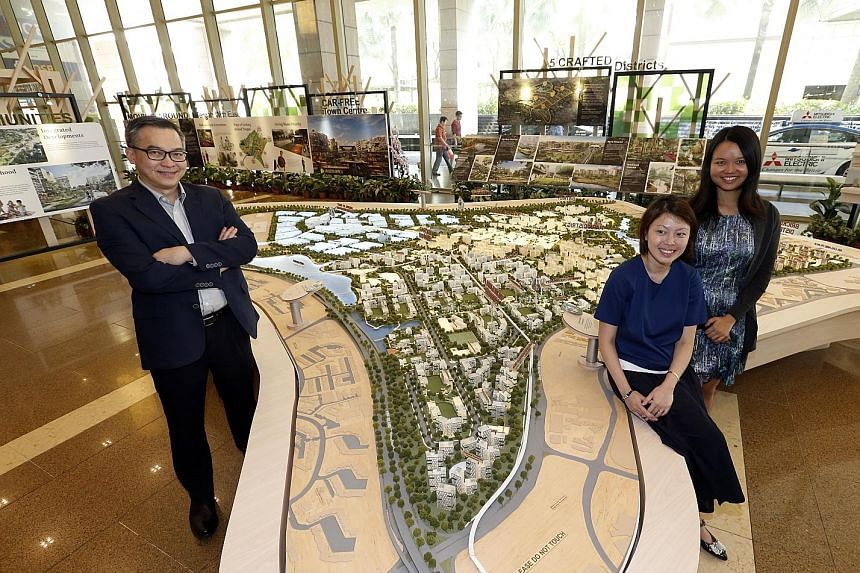 The HDB team involved in the planning of the new Tengah town include (from far left) Dr Chong, Ms Lim and Ms Wu.