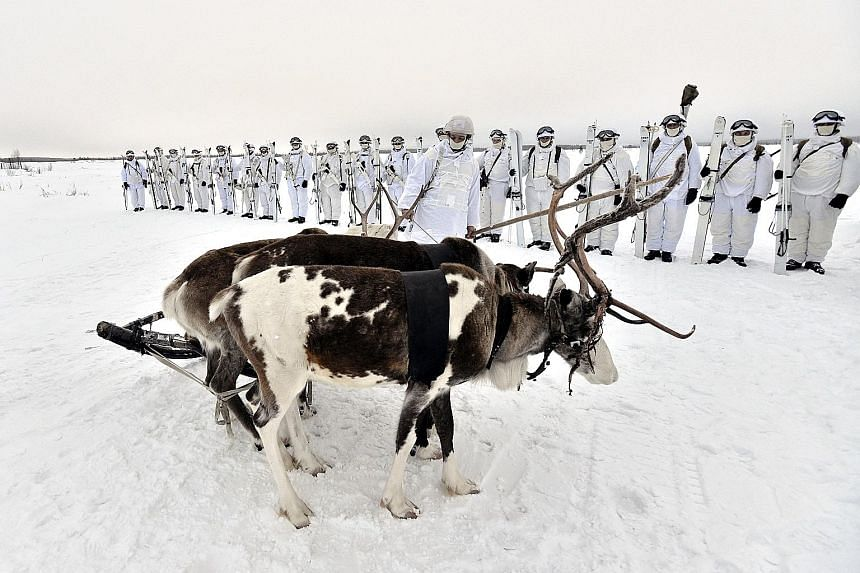 Russian servicemen from the Northern Fleet's Arctic mechanised infantry brigade in a military drill, using reindeer and dog sleds, outside Murmansk, last week. Under President Vladimir Putin, Moscow is rushing to reopen abandoned Soviet military, air