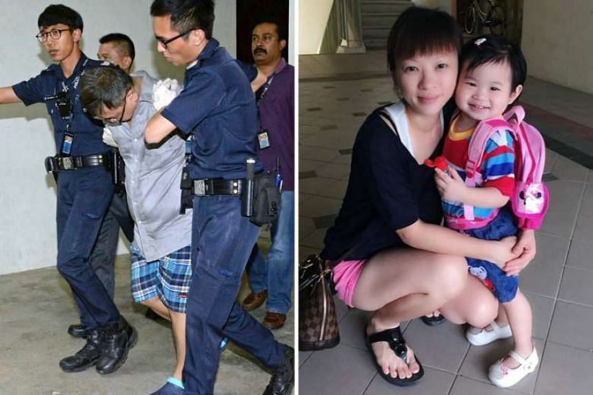 Left: Police officers taking away Teo Ghim Heng, who is believed to be the dead woman's husband, in connection with the deaths. Right: Madam Choong, who went by the name of Ade Teo on Facebook, with her four-year-old daughter Zi Ning. The two were fo