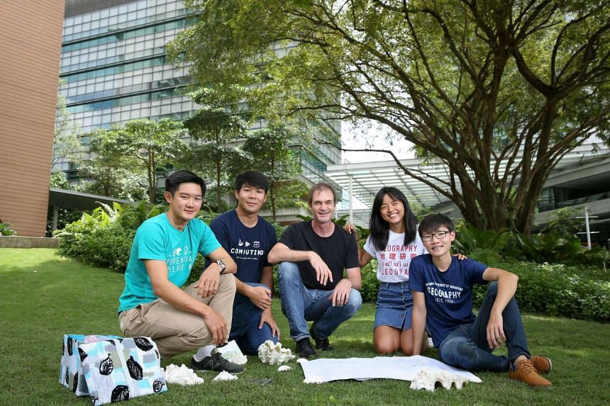 Associate Professor Martin Henz (centre) with NUS students (from left) Jonathan Yeo, Darren Wee, Tan Fangning and Jeremiah Loke. The group is now working on returning the shells to the relevant authorities, having learnt that they are not supposed to