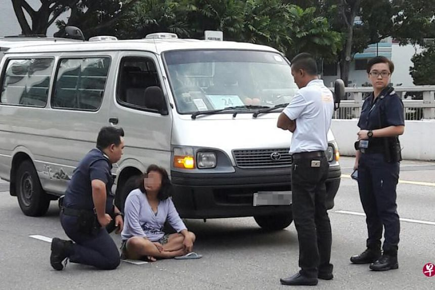 The 48-year-old woman who blocked a van with her naked body on Jan 30, 2017.