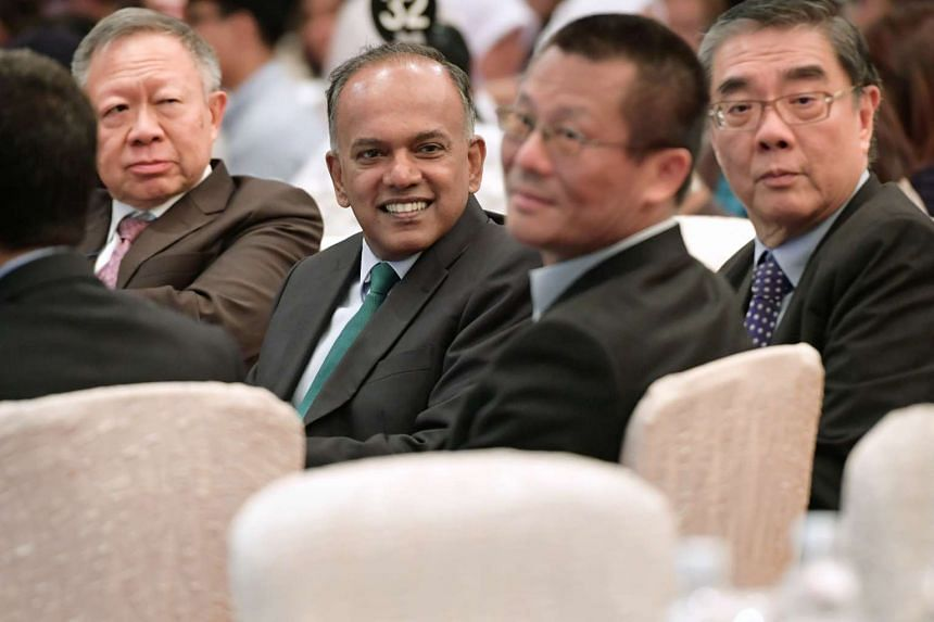 (From left) RSIS board of governor chairman Eddie Teo, Law and Home Affairs Minister K Shanmugam, Professor Yan Kejia and Ambassador Ong Keng Yong at the RSIS symposium on Feb 1, 2017.