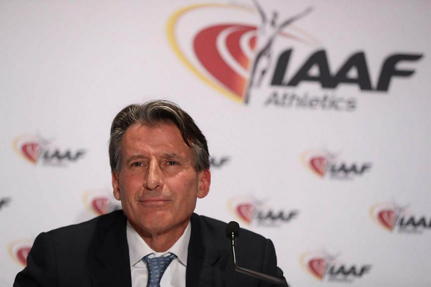International Association of Athletics Federations (IAAF) President Sebastian Coe addresses a press conference following a two-day IAAF council meeting in Monaco.