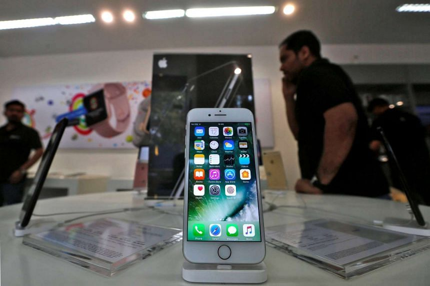 An iPhone is seen on display at a kiosk at an Apple reseller store in Mumbai, India, Jan 12, 2017.