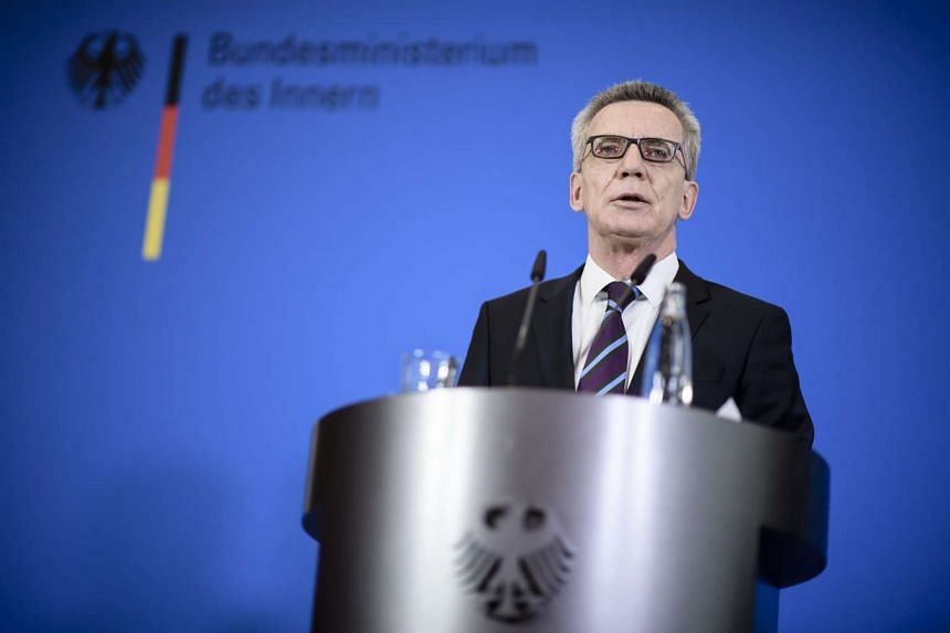 German Interior Minister Thomas de Maiziere speaks during a press statement in the German Ministry of the Interior in Berlin, Germany, on Feb 1, 2017.