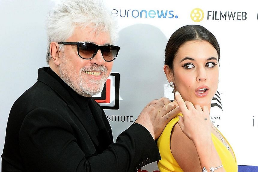 Spanish director Pedro Almodovar with actress Adriana Ugarte at the 29th European Film Awards. Ugarte was part of the cast for the 2016 film, Julieta, directed by Almodovar.
