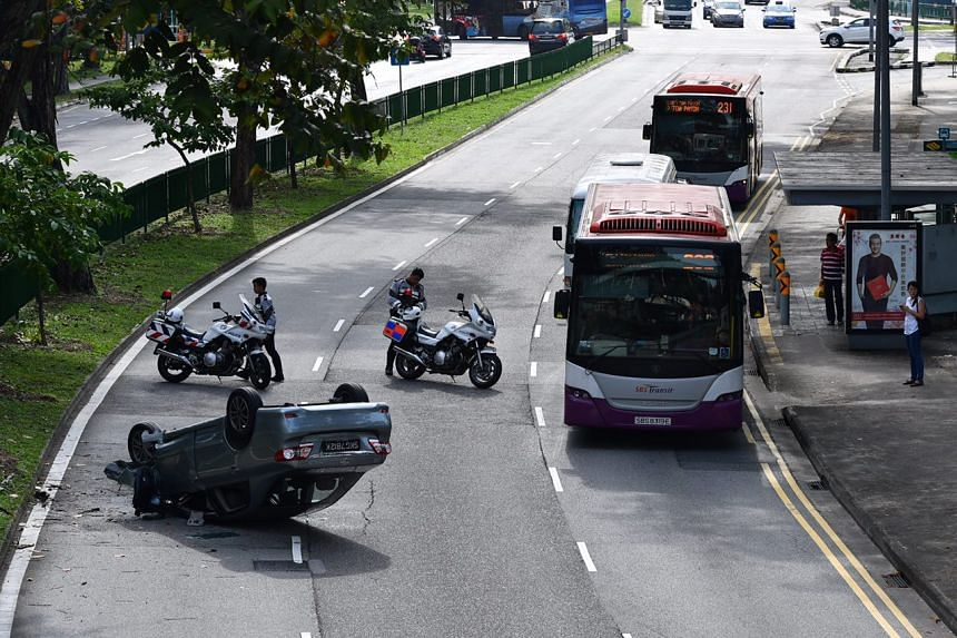 The overturned car occupied the right-most lane on Lorong 1 Toa Payoh, in the direction of Toa Payoh Central.