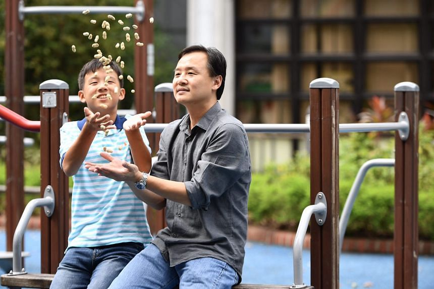 Mr Tng Yan Hui (right) and his son Tng Shih Kai, who used to have an allergic reaction to peanuts.