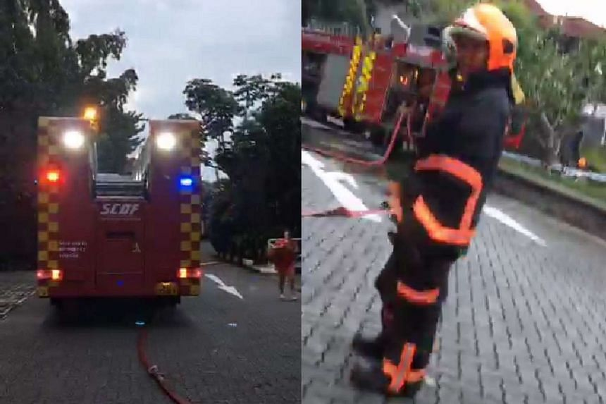 SCDF personnel at the Singapore Polo Club, where a sauna room caught fire on Feb 1, 2017.