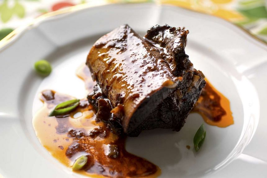 Chile-braised beef short ribs.