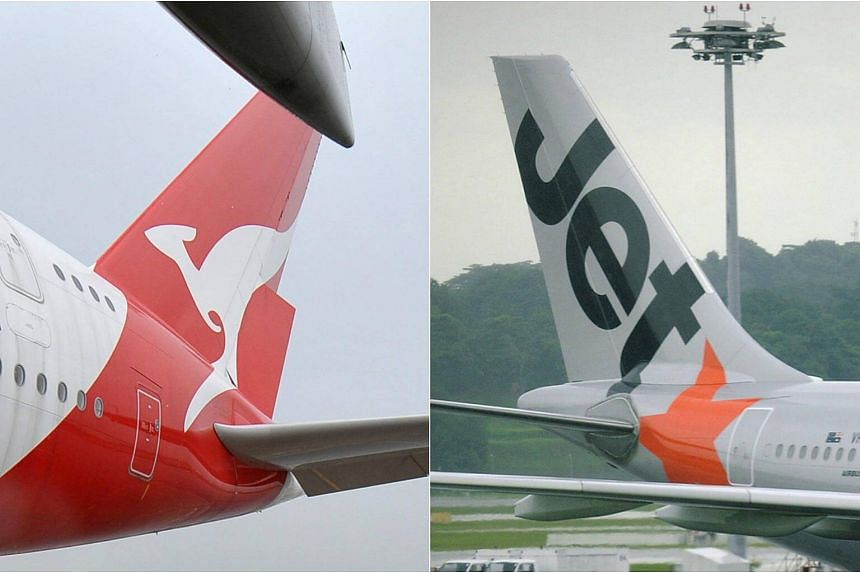 Australia's Qantas (left) and Singapore's budget carrier Jetstar Asia.