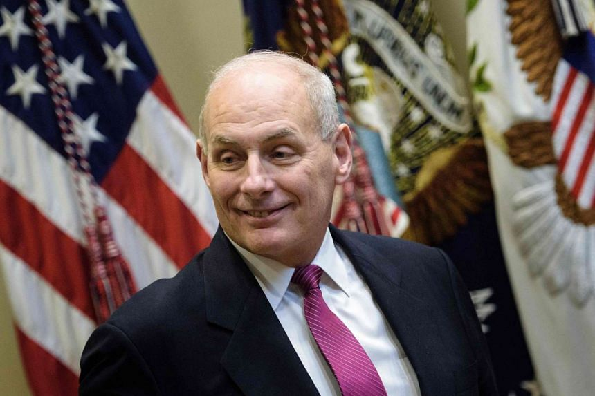 US Secretary of Homeland Security John Kelly arrives for a meeting on cyber security in the Roosevelt Room of the White House Jan 31, 2017 in Washington, DC.