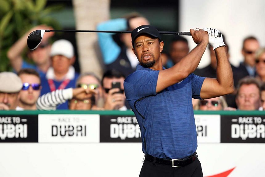 Tiger Woods playing a shot during the Dubai Desert Classic in Dubai on Feb 2, 2017.