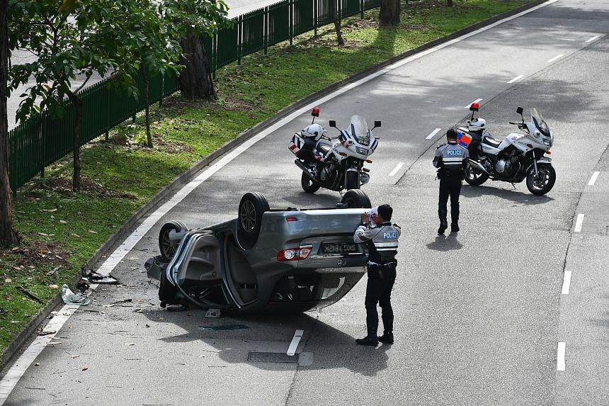 A car turned turtle in an accident along Lorong 1 Toa Payoh, near Block 105, yesterday morning. Several Traffic Police officers were seen at the scene at around 10am. A police spokesman said they were alerted to the accident at around 9.18am. There w