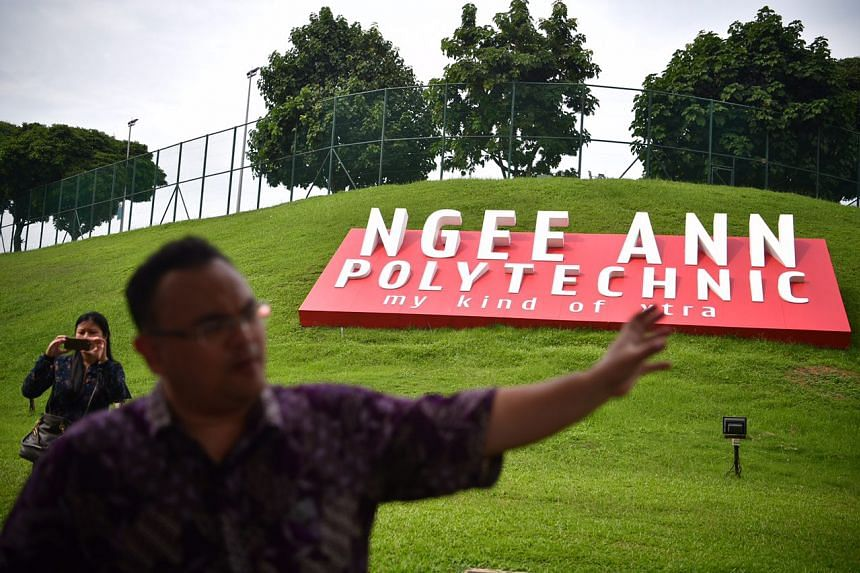 Dr Mohamed Effendy speaking in front of Ngee Ann Polytechnic, which was a major staging area for Japanese forces during the Battle of Singapore.