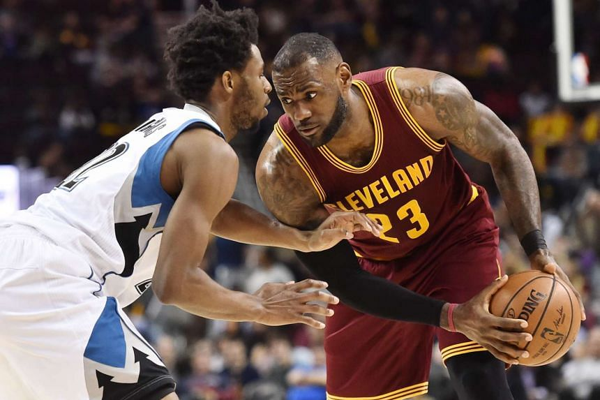 Cleveland Cavaliers forward LeBron James (#23) preparing to drive against Minnesota Timberwolves forward Andrew Wiggins (#22) during their NBA game on Feb 2, 2017.