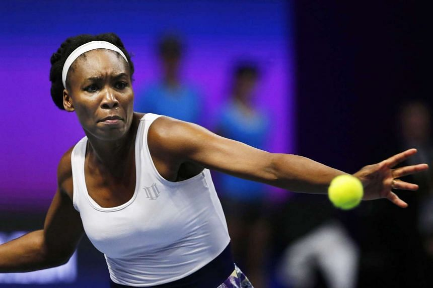 Venus Williams of the USA returning the ball to Kristina Mladenovic of France during their second round match of the St Petersburg Ladies Trophy 2017 tennis tournament in St Petersburg, Russia, on Feb 2, 2017.