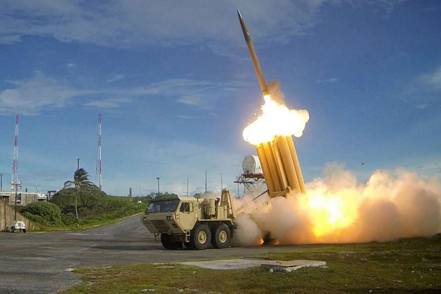 A Thaad interceptor is launched during a successful test, in an undated handout picture from the US Department of Defence.