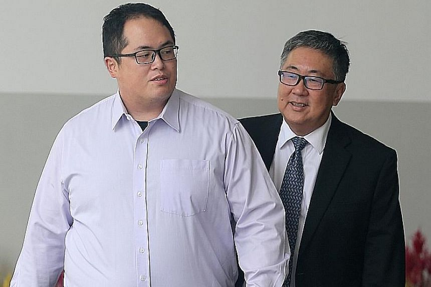 Jonathan Tan and his father, SC Tan Chee Meng, leaving the State Courts yesterday. The judge said the 28-year-old, who completed primary school education here, had reaped the benefits of the Singapore education system.