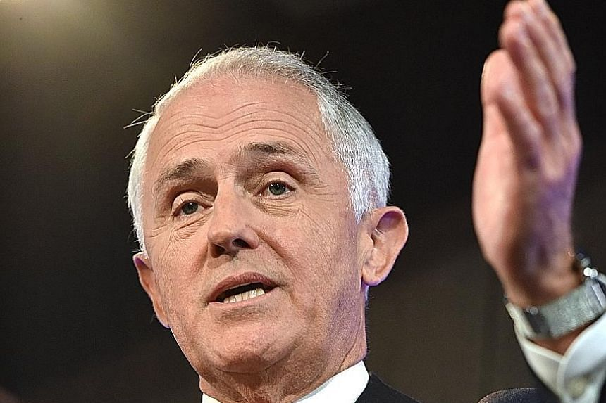 Mr Turnbull (above) denied Mr Trump hung up on him, and said the call with the US President ended courteously.