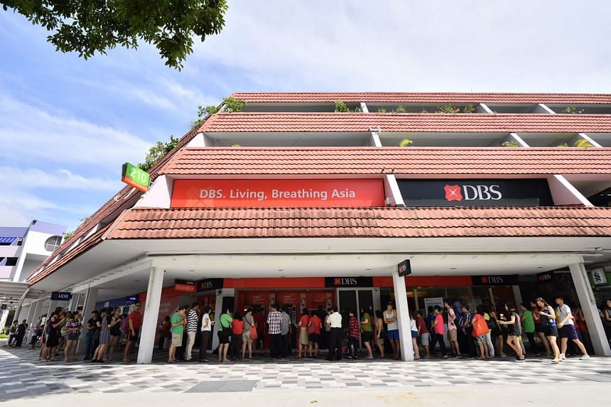 People queueing up to deposit money at DBS Bedok branch at Blk 210 New Upper Changi Road around 11am on Feb 03, 2017.
