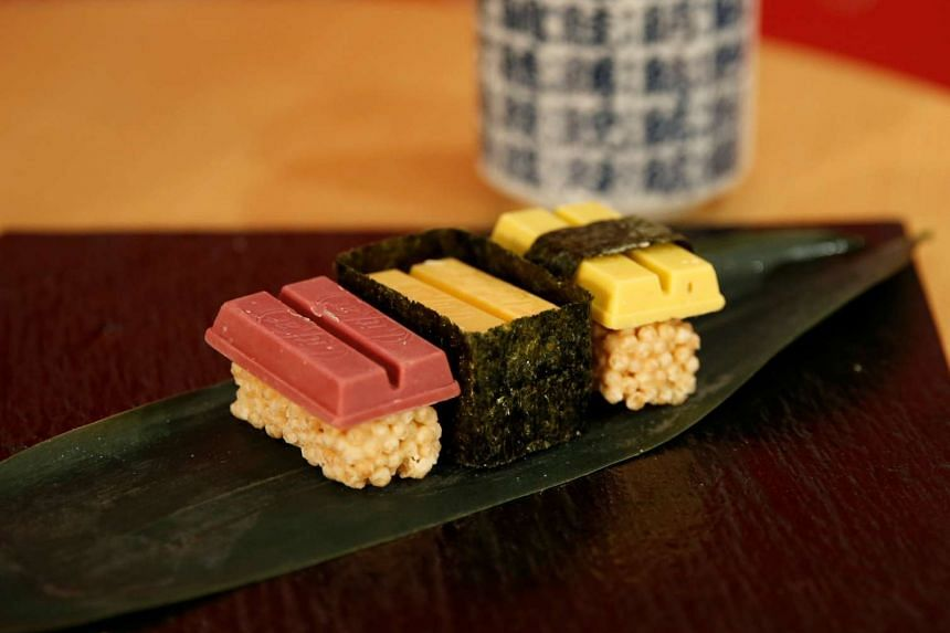 Nestle Japan's sushi-shaped KitKats for Valentine's Day at its Ginza store in Tokyo, Japan, on Feb 2, 2017.