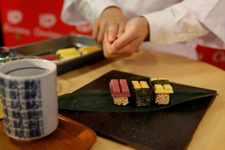 The 3-piece sets unveiled on Thursday are modelled on tuna, sea urchin and omelette sushis, but are actually raspberry, mascarpone cheese, and pumpkin pudding KitKats atop sugar-coated puffed rice.