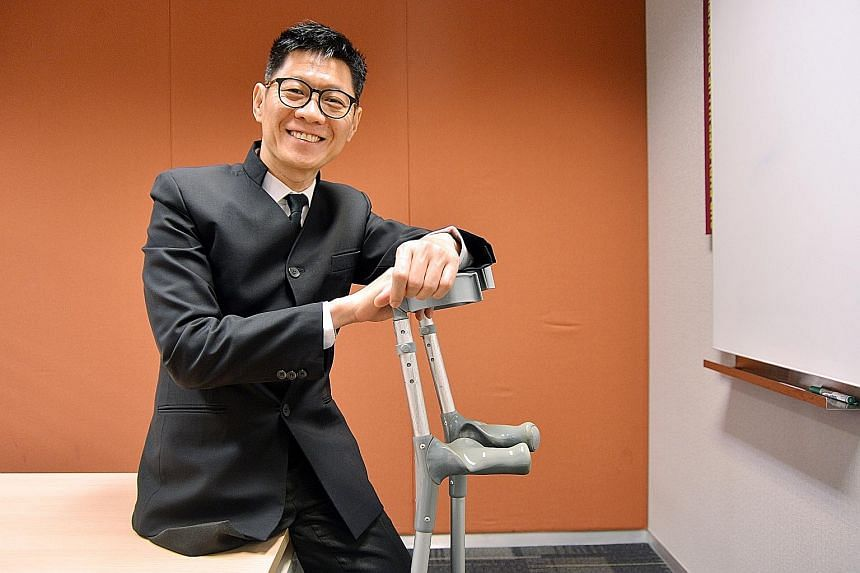 Mr Wang was diagnosed with a rare form of bone cancer in 1996 and had his right leg amputated three years later. Today, he is at peace with his condition.