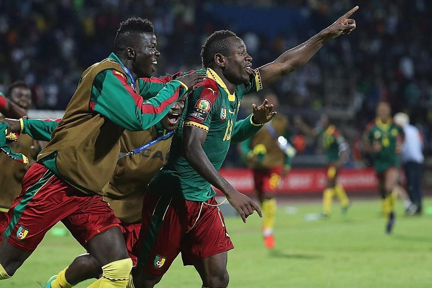 Christian Bassogog celebrating after scoring in the 90th minute to seal the win. Cameroon beat Ghana 2-0 to progress to the Africa Cup of Nations final.