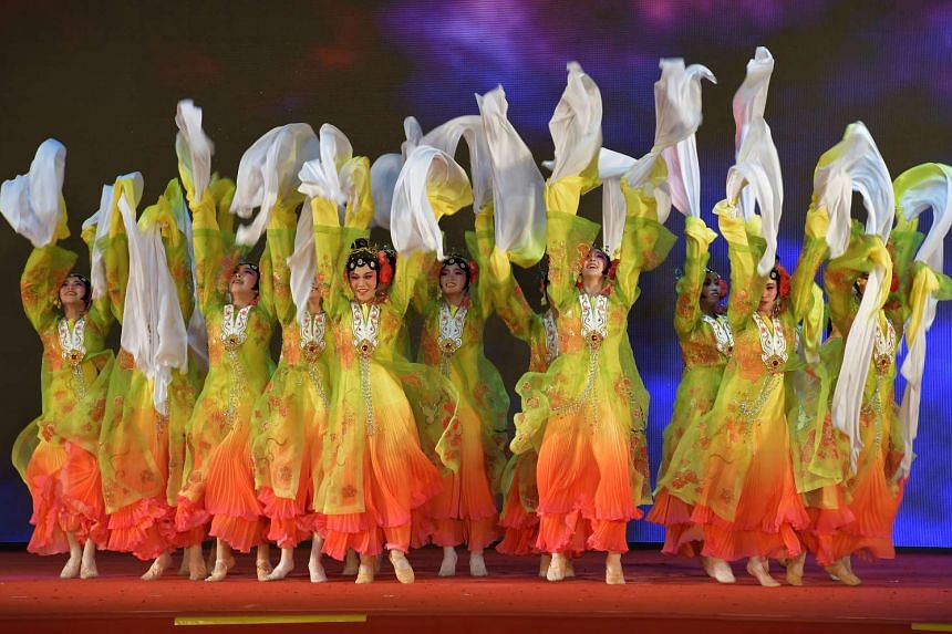 Dancers performing at the final night of the River Hongbao celebrations on Feb 4, 2017.