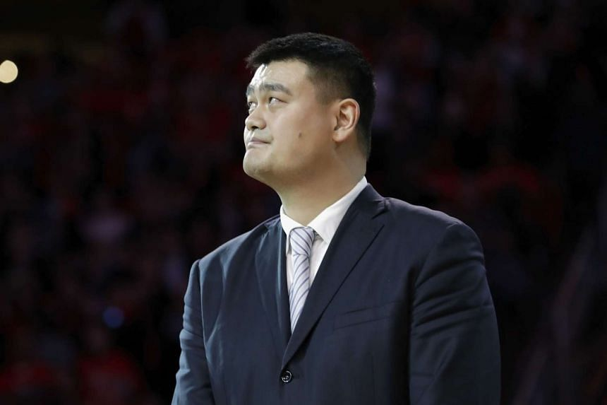 Yao Ming watches as his Houston Rockets jersey #11 is retired at halftime of the game between the Houston Rockets and the Chicago Bulls at Toyota Center on Feb 3, 2017.