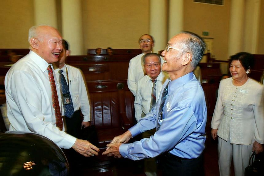 Mr Lee Kuan Yew having a laugh with leftist politician Mr Fong Swee Suan during the launch of the book, Men In White: The Untold Story Of Singapore's Ruling Political Party on Sept 8, 2009.
