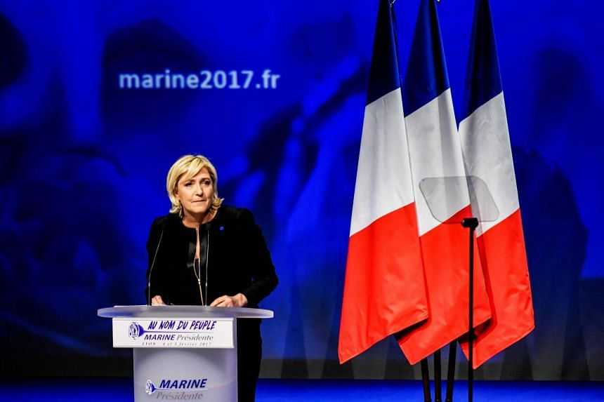 Head of the French far-right party Front national (FN) and presidential candidate Marine Le Pen gives a speech, on Feb 5, 2017, as part of a two-day political rally to kick off the presidential campaign of the FN presidential candidate.