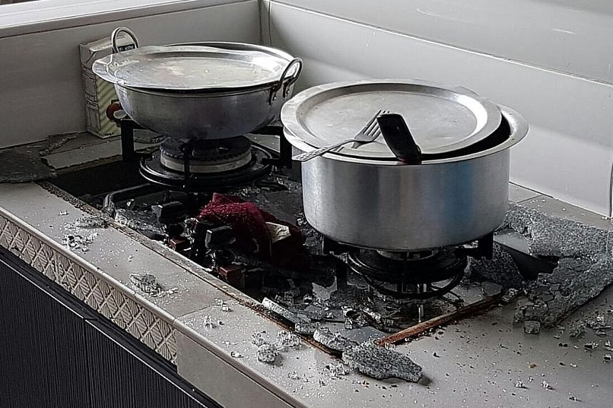 Ms Suzalinah's glass-top stove shattered at about 12.45pm yesterday. Nobody was in the kitchen at the time.