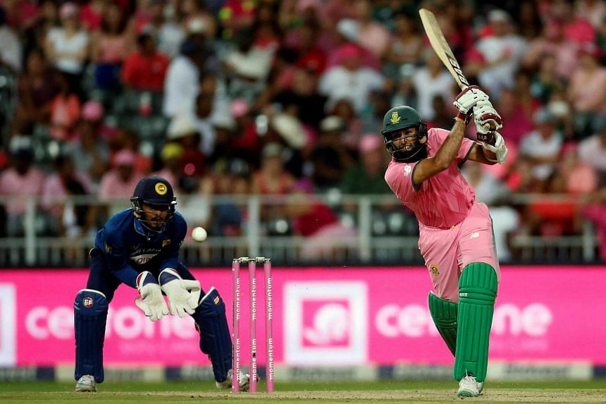 South Africa's Hashim Amla playing a shot during the third One Day International match between South Africa and Sri Lanka on Feb 4, 2017.