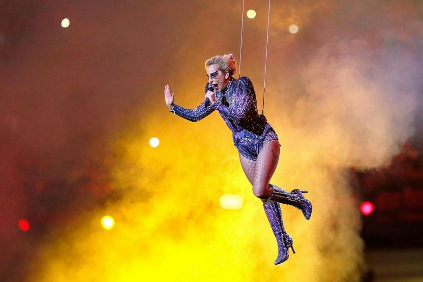 Lady Gaga performs during the Super Bowl halftime show.