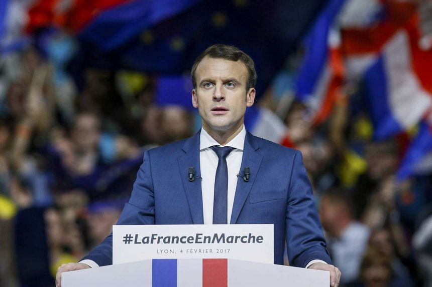 French presidential candidate Emmanuel Macron speaking at a campaign rally in Lyon on Feb 4, 2017.