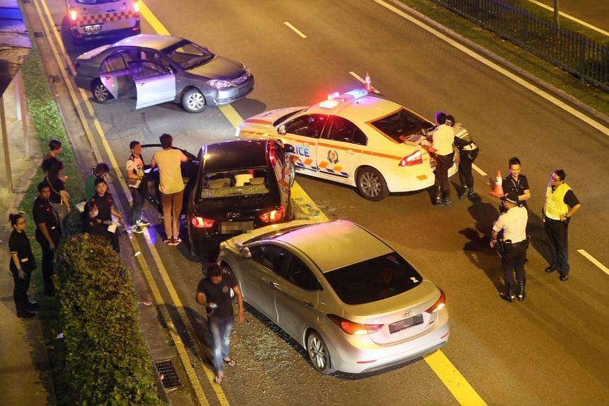 The vehicles reportedly involved in the collision included the black rental car driven by the alleged trafficker, a police car and a CNB car.  The fourth car involved was reportedly driven by an employee of the company that owns the suspect's rental