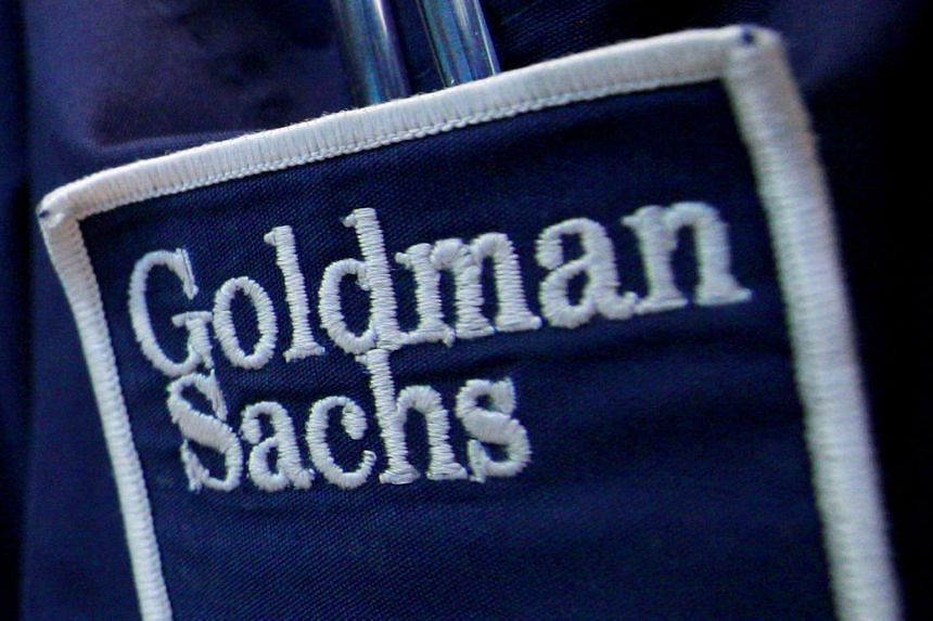 The logo of Dow Jones Industrial Average stock market index listed company Goldman Sachs.