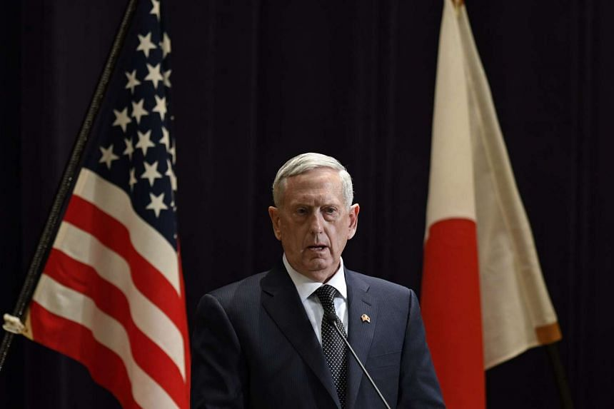 US Secretary of Defense James Mattis speaking during a joint press conference with Japanese Defense Minister Tomomi Inada (not pictured) at the defence ministry in Tokyo, Japan, on Feb 4, 2017.
