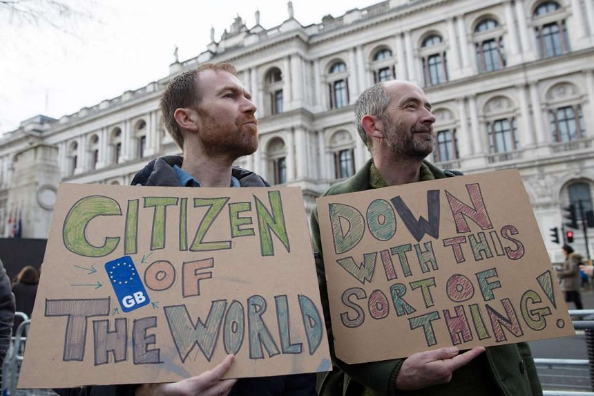 Participants of a pro-EU protest near 10 Downing Street in London, Britain, Feb 4, 2017.
