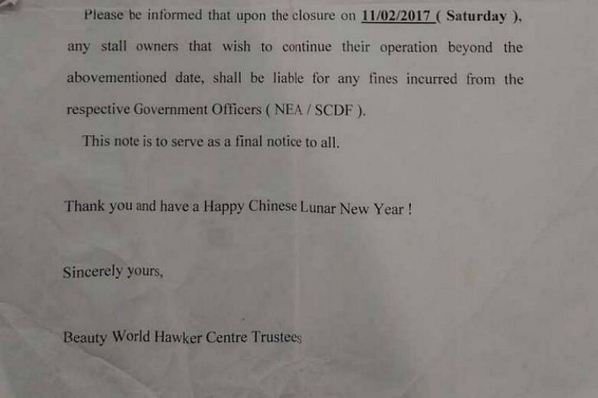 A notice issued to stallholders at Beauty World Centre's food centre around Chinese New Year stating that they must cease operations by Feb 11. Hawkers said they were told on Sunday (Feb 5) that they can now stay on until further notice.